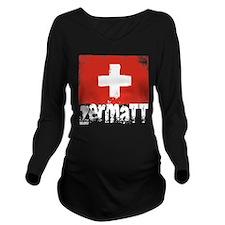 Zermatt Grunge Flag Long Sleeve Maternity T-Shirt