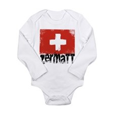 Zermatt Grunge Flag Long Sleeve Infant Bodysuit