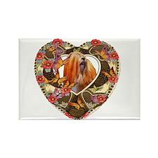 Lhasa Apso Valentine Vintage Red Rectangle Magnet