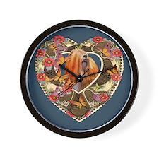 Lhasa Apso Valentine Vintage Red Wall Clock