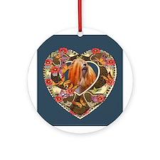 Lhasa Apso Valentine Vintage Red Ornament (Round)