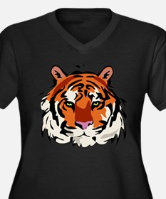 Tiger (Face) Women's Plus Size V-Neck Dark T-Shirt