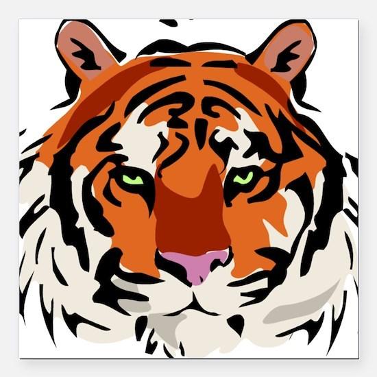 "Tiger (Face) Square Car Magnet 3"" x 3"""