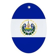 El Salvador flag Oval Ornament