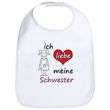 Ich liebe meine Schwester in German, translates to