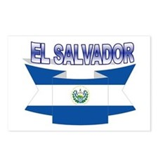 Salvadorian flag ribbon Postcards (Package of 8)