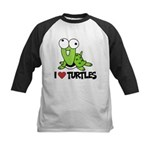 I Love Turtles Kids Baseball Jersey