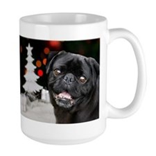Christmas black pug dog Mugs