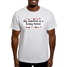 Cesky Terrier valentine Ash Grey T-Shirt