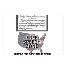 FREE SPEECH PERMIT Postcards (Package of 8)