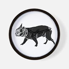 francois the French bulldog black 2 Wall Clock