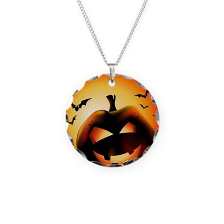 Pumpkin Fright Necklace Circle Charm