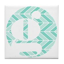 Teal Chevron Monogram-G Tile Coaster