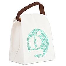 Teal Chevron Monogram-G Canvas Lunch Bag