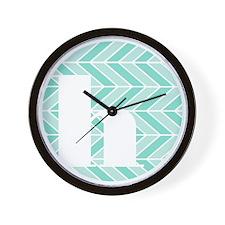 Teal Chevron Monogram-H Wall Clock