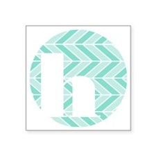 "Teal Chevron Monogram-H Square Sticker 3"" x 3"""