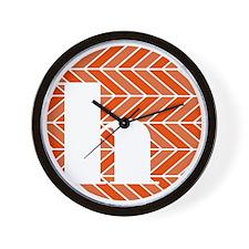 Vermillion Chevron Monogram-H Wall Clock