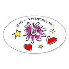 Happy Valentine's Day Oval Decal