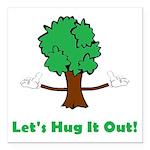 Tree Hugger Square Car Magnet 3