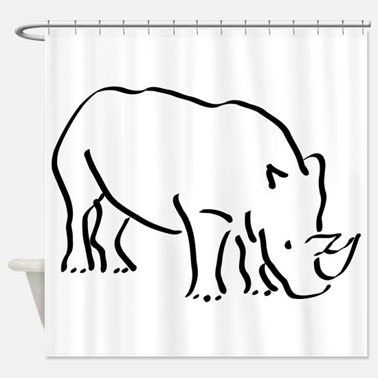 Rhinoceros Drawing Shower Curtain