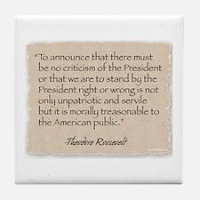 Tile Coaster: Criticism-Roosevelt