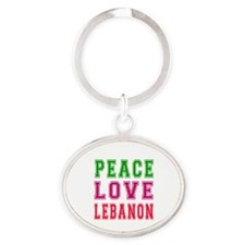 Peace Love Lebanon Oval Keychain