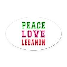 Peace Love Lebanon Oval Car Magnet