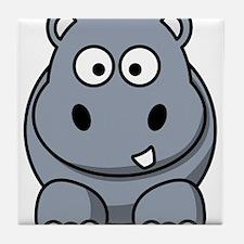 Cartoon Hippo Tile Coaster