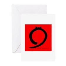 Zen Cat Red Greeting Cards (Pk of 10)