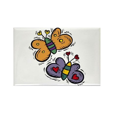 Butterflies with Hearts Rectangle Magnet