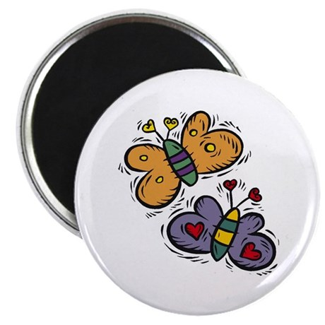 "Butterflies with Hearts 2.25"" Magnet (10 pack)"