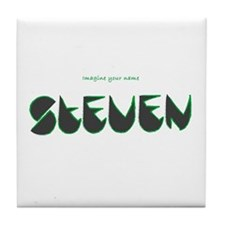 Steven black and green Tile Coaster