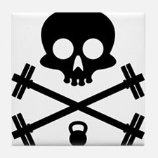 Skull and Cross Fitness Tile Coaster