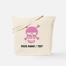 Custom Skull Pink Quatrefoil Tote Bag