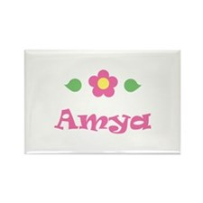 "Pink Daisy - ""Amya"" Rectangle Magnet"