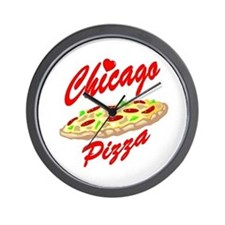 Love Chicago Pizza Wall Clock