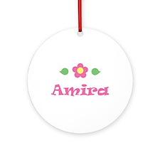 "Pink Daisy - ""Amira"" Ornament (Round)"