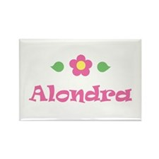 "Pink Daisy - ""Alondra"" Rectangle Magnet"