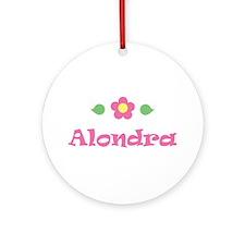 "Pink Daisy - ""Alondra"" Ornament (Round)"