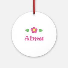 "Pink Daisy - ""Alma"" Ornament (Round)"