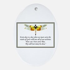 """""""God's Will be done"""" Oval Ornament"""