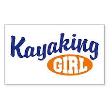 Kayaking Girl Rectangle Decal
