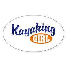 Kayaking Girl Oval Decal