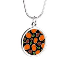 Fall Pumpkin and Leaves Print Necklaces