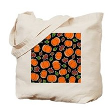 Fall Pumpkin and Leaves Print Tote Bag
