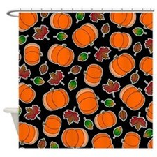 Fall Pumpkin and Leaves Print Shower Curtain