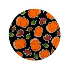 "Fall Pumpkin and Leaves Print 3.5"" Button (100 pac"