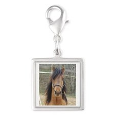 Mustang Silver Square Charm