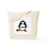 Knitting penguin Totes & Shopping Bags