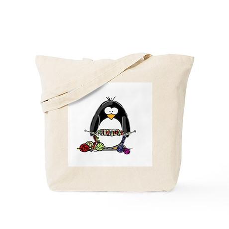 Knitting Penguin Tote Bag